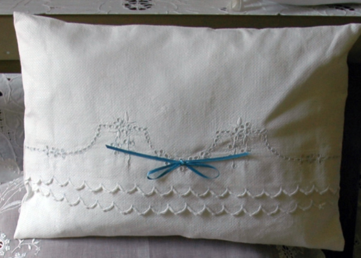 Enchanting ruffled pillow this pillow was made from a damaged linen